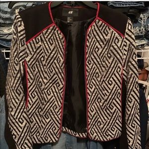 Tribal Color Blocked  Printed Blazer